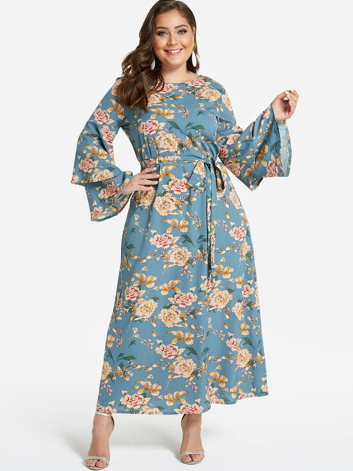 Image of Yoins Plus Size Green Floral Print Tiered Bell Sleeves Maxi Dress
