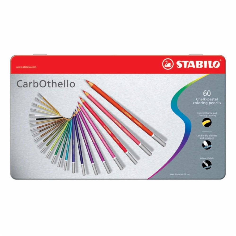 Stabilo -CarbOthello chalk-pastel Coloured Pencil Metal Box of 60 Colours