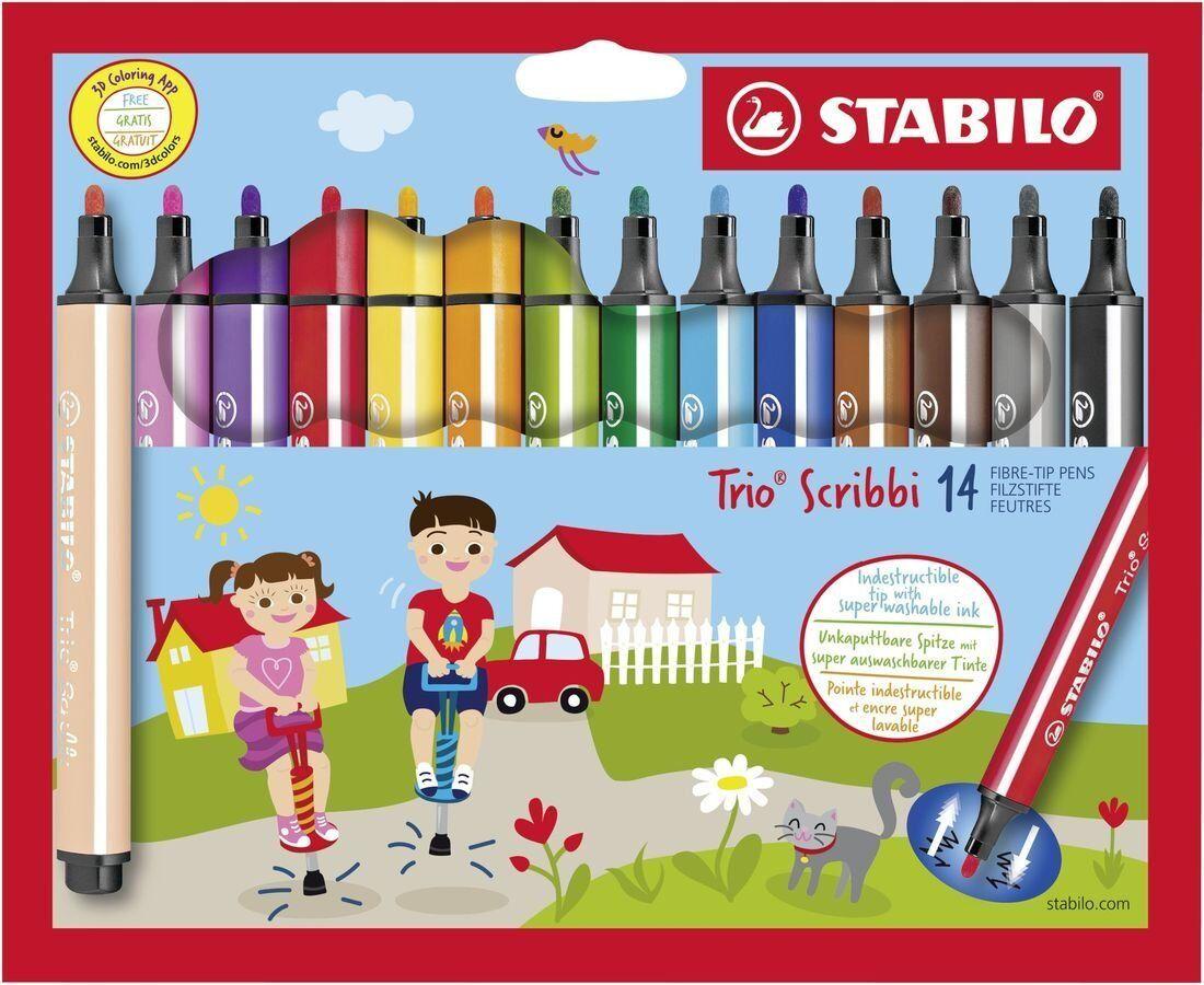 Stabilo Trio Scribbi triangular fibre-tip pen Set with 14 colours