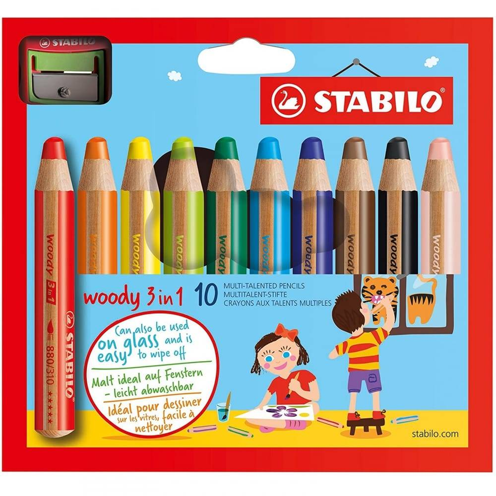 Stabilo Woody 3in1 10 pc with sharpener (880/10-2)