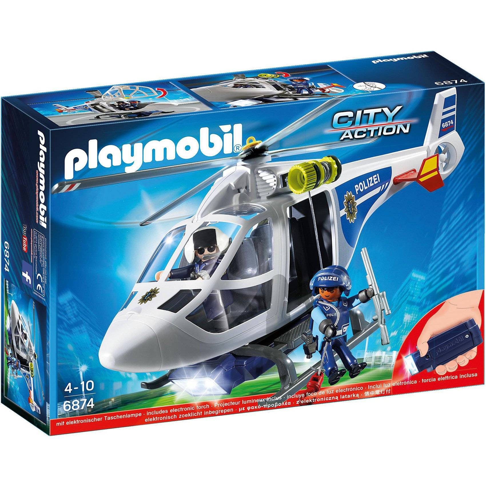 Playmobil Police Helicopter with LED Searchlight (6921)