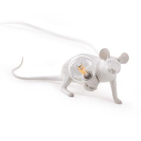 SELETTI Mouse Valaisin Lie Down - Valkoinen