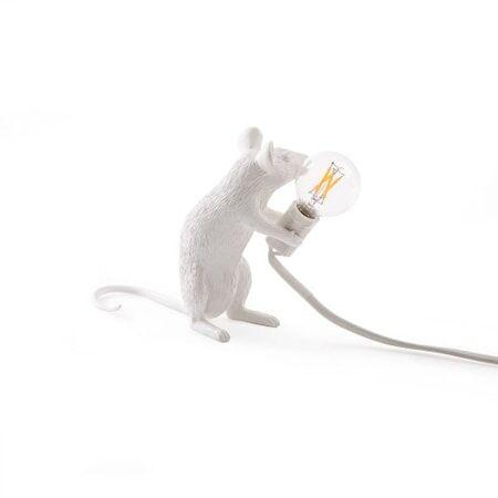 SELETTI Mouse Valaisin Sitting - Valkoinen