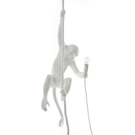 SELETTI Monkey Valaisin With Rope - Valkoinen