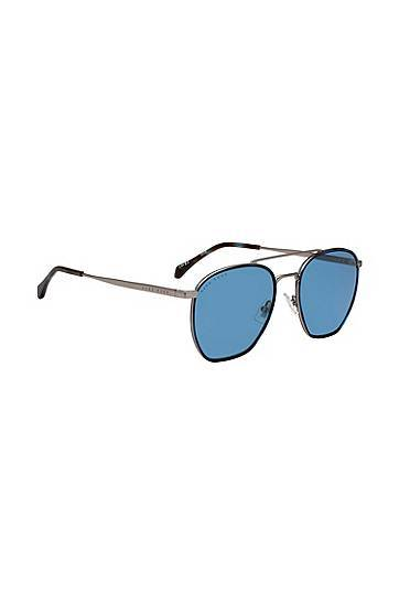 Boss Windsor-rim sunglasses with 3D temples and tonal logo  - Men - Blue - Size: pce.