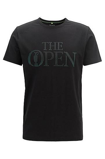 Image of Boss The Open Exclusive logo T-shirt in stretch-cotton jersey