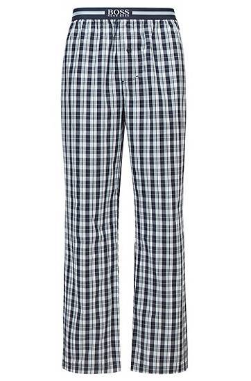 Boss Button-fly pyjama trousers in checked cotton  - Men - Blue - Size: Medium