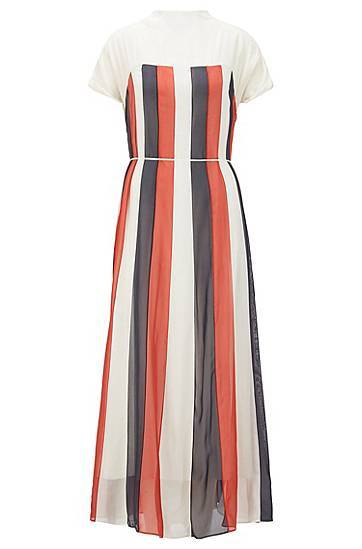 Image of Boss Chiffon maxi dress with flared skirt and tie belt