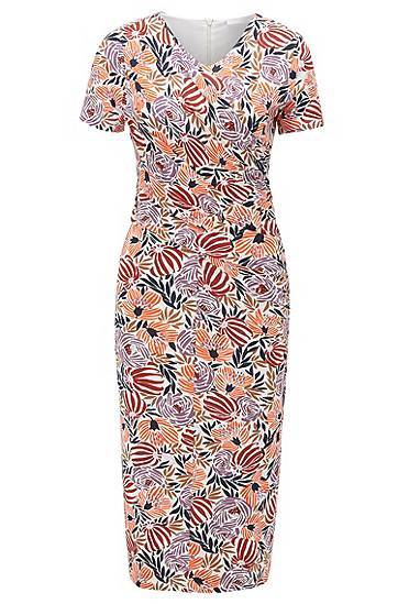 Image of Boss Floral-print jersey dress with asymmetric ruching