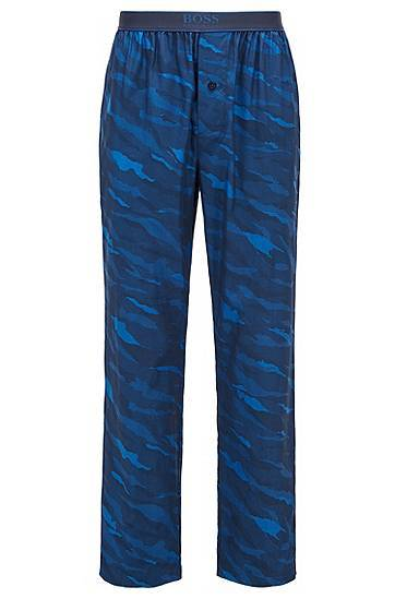 Boss Button-fly pyjama trousers in abstract-animal patterned cotton  - Men - Dark Blue - Size: Large