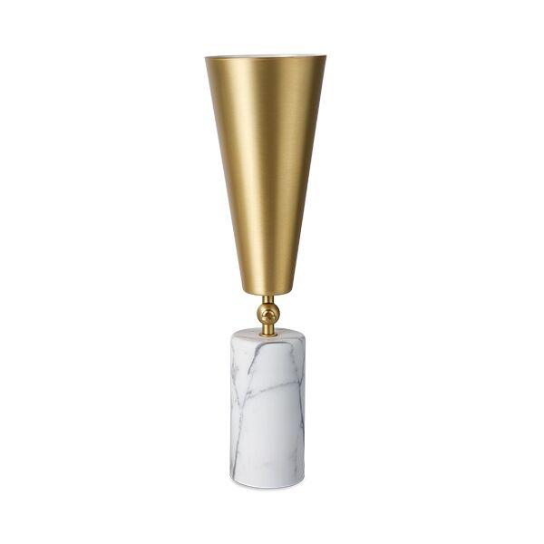 TATO Vox Table Lamp White Marble & Matt Brass/White Large