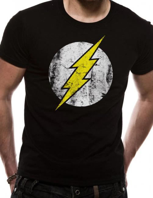 T-PAITA - THE FLASH - DISTRESSED LOGO BLACK  -painatus valitsemaasi paitaan