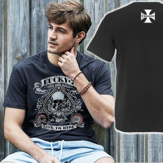 Tee T-PAITA GREY BASIC TEE - LUCKY 7, LIVE TO RIDE  -painatus valitsemaasi paitaan