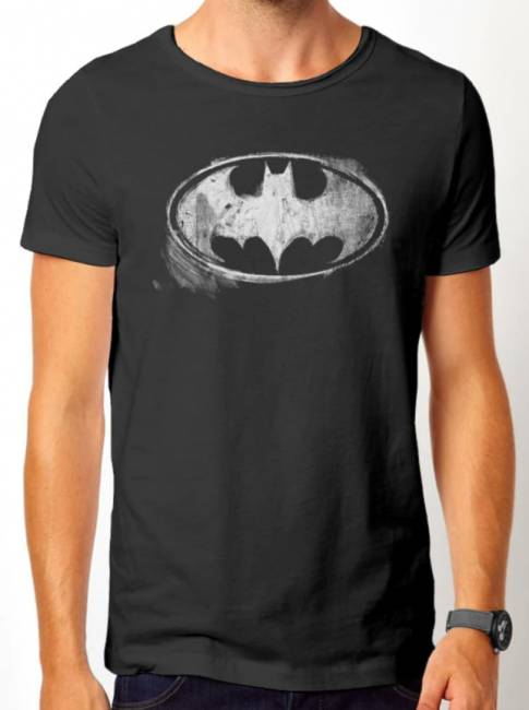 T-PAITA - BATMAN - LOGO MONO DISTRESSED  -painatus valitsemaasi paitaan