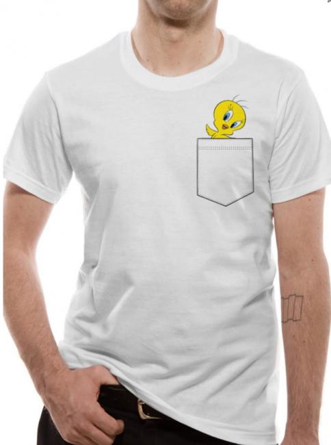 T-PAITA - LOONEY TUNES - TWEETY POCKET  -painatus valitsemaasi paitaan