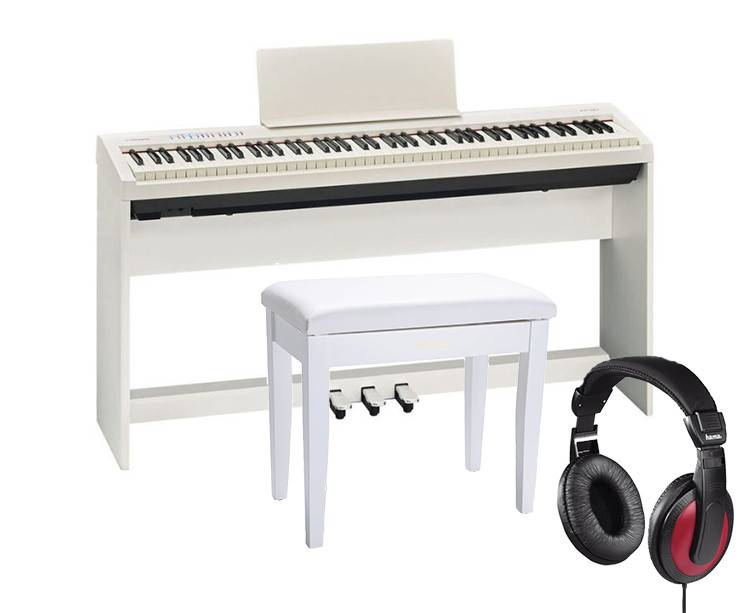 Roland FP-30 White Set - teline, penkki ja kuulokkeet