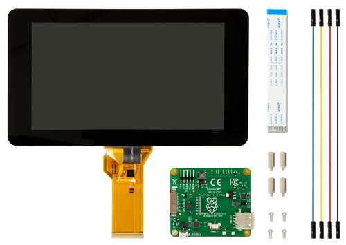 """Raspberry Pi 7"""" LCD-kosketusnäyttö, Kapasitiivinen, 10 Pistettä, Musta"""