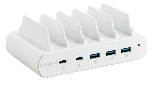 DELTACOIMP 110W 5-Port Charging Station, Stand, 2x USB-C PD, 3x USB-A QuickCharge