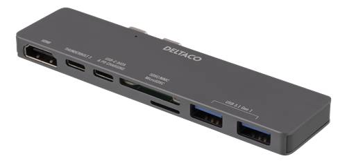 Deltaco USB-C-telakointiasema MacBook Prolle, 2016 Ja Uudemmat Mallit