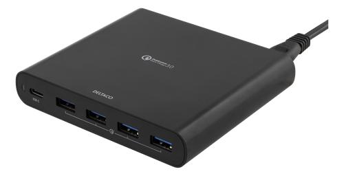 Deltaco USB-latausasema, 1xUSB-C PD, 4xUSB-A, QC 3.0, 80W, 1,5m, Musta