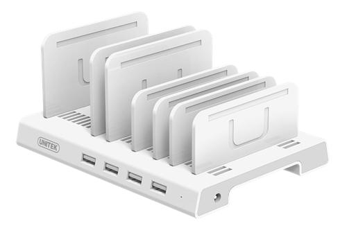 DELTACOIMP USB-latausasema, 4xUSB-A, 5V 2,4A 36W, BC1.2, Muovia, Valkoinen