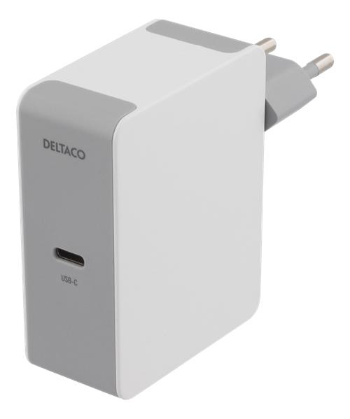 Deltaco USB-C-seinälaturi, 60 W PD, 230V AC, Valkoinen