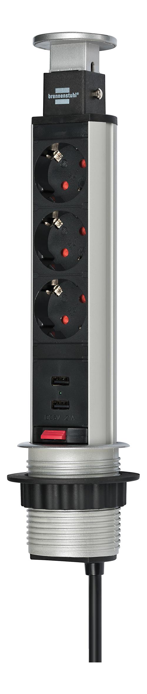 Image of Brennenstuhl Tower Power Pöytämalli 3 X CEE 7/4, 2 USB