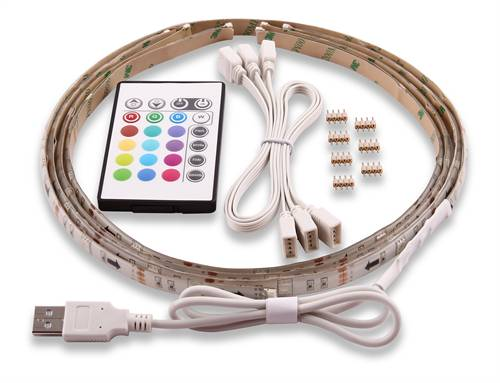 NordicHome NORDIC HOME LED-lista, 4x50cm, 12 Eri Väriä, RGB, Kauko-ohjaus, USB
