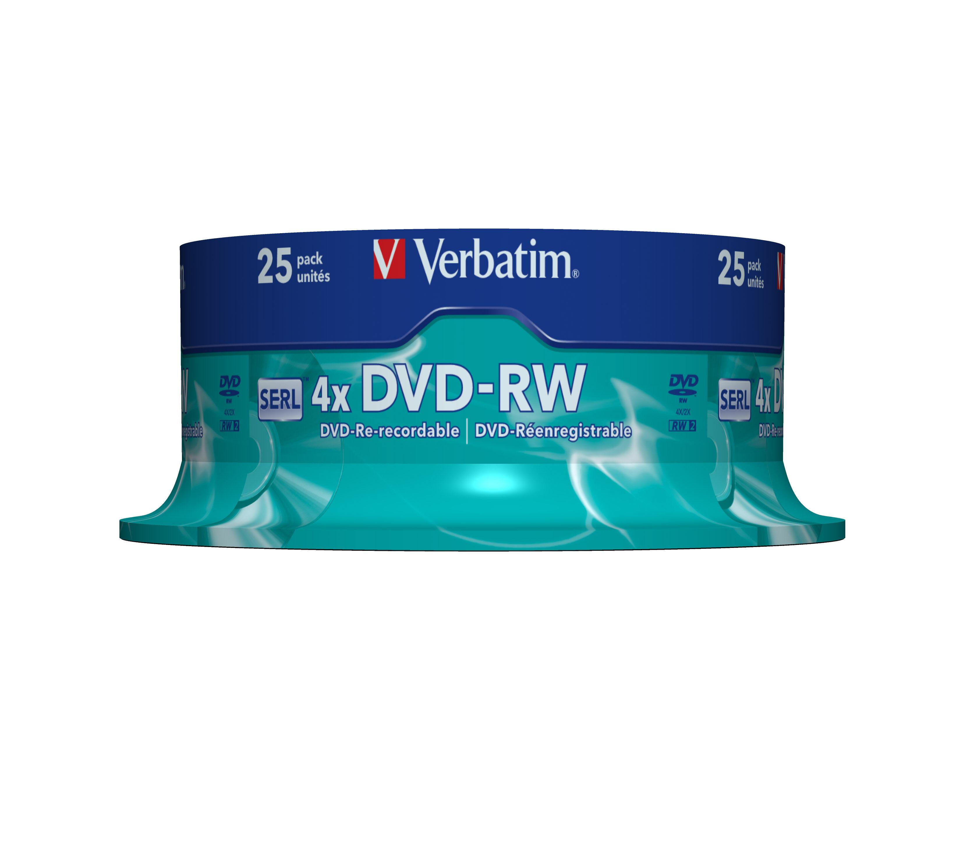 Verbatim DVD-RW, 4x, 4,7 GB/120 Min, 25-pakkaus Spindle, SERL
