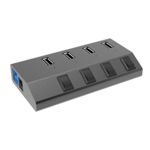 Winstar 4-Port Vertical USB Hub, 2.4A, USB 3.0, Plug And Play, Black