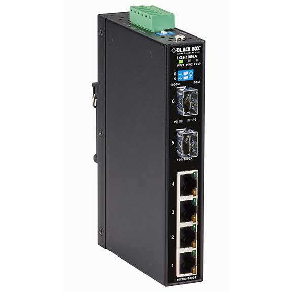 BLACK BOX LGH1000 SERIES HARDENED ETHERNET SWITCH - (4) 10/100/1000M RJ45 + (2) SFP-SLOTS