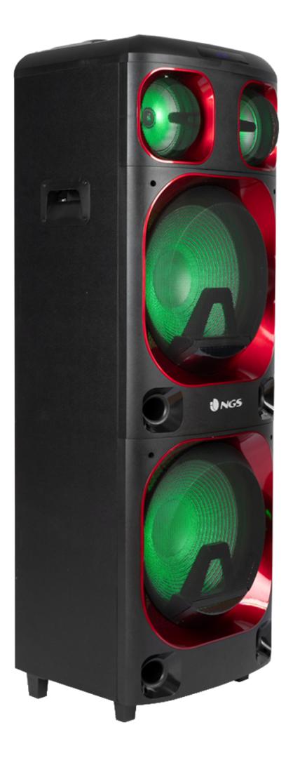 "NGS Wildska3 1200W DOUBLE15"" WOOFER SPEAKER USB/MICRO SD/BT(TWS)/AUX I"