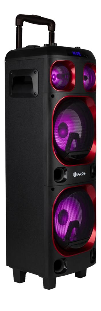 """NGS Wildska1 300W DOUBLE8"""" WOOFER SPEAKER BUILT IN BATTERY- USB/SD/BT"""