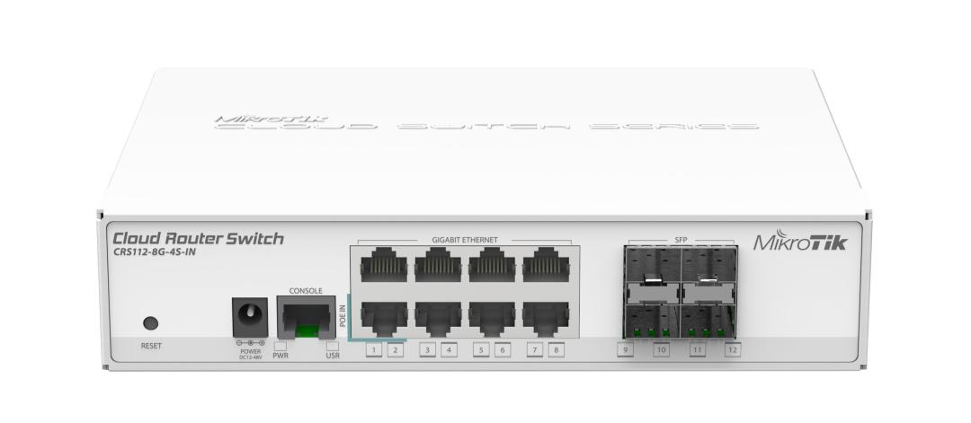 Mikrotik Cloud Router SW 128MB RAM 8xGE 4xSFP 400MHz PSU