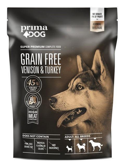 PrimaDog viljaton peura-kalkkuna aikuiselle koiralle 1,5 kg