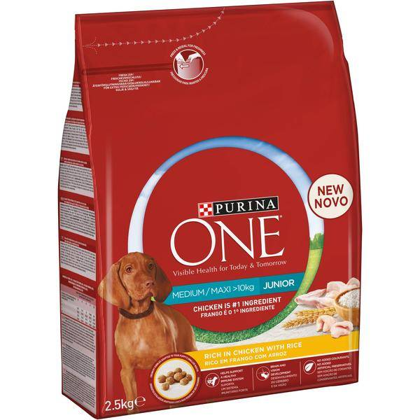 Purina ONE Medium/Maxi Junior kana ja riisi 2,5 kg