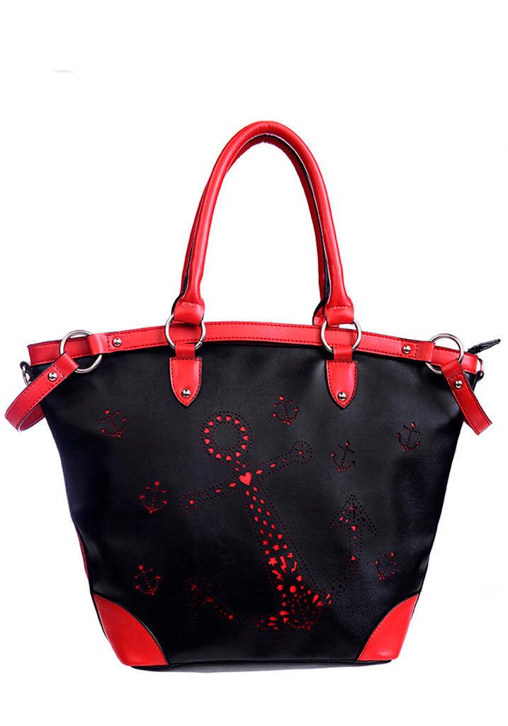 Banned Mustapunainen käsilaukku - Black & Red Anchor