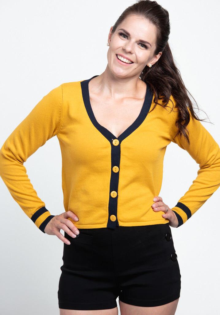 Collectif Vicki Contrast Mustard Neuletakki - Collectif