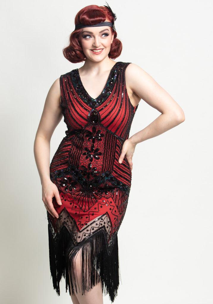 Miss Windy Shop Punainen Cocktail Mekko - 1920