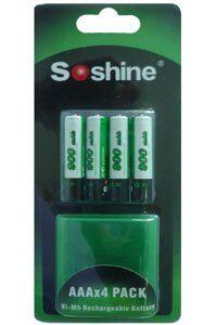 Gillette Soshine 4x AAA paristo (900 mAh, Uudelleenladattava)