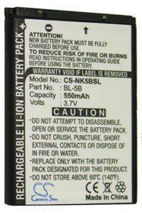 Nokia N80ie akku (550 mAh, Musta)