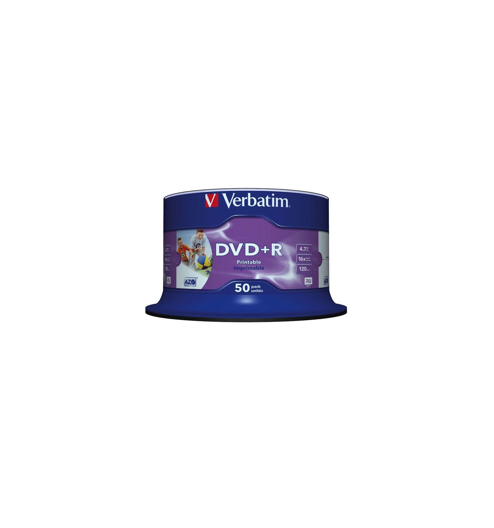 Verbatim DVD+R Wide Inkjet Printable No ID Brand 4,7 GB 50 kpl