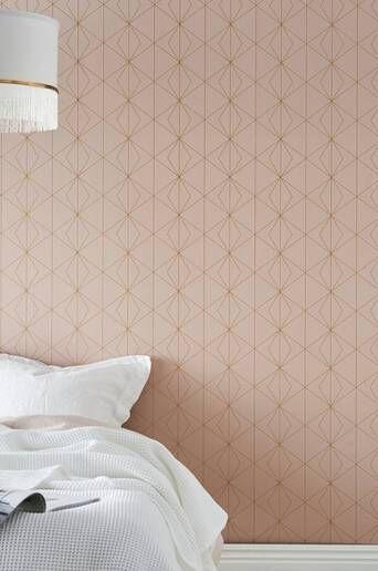Wallpaper by ellos Kimiko tapetti  - Vaalea roosa/kullanvärinen