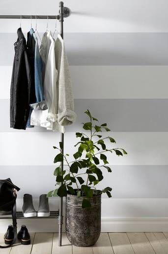 Wallpaper by ellos Maja tapetti  - Harmaa/valkoinen