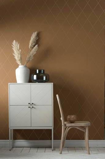 Wallpaper by ellos Athena tapetti  - Currynruskea/kulta
