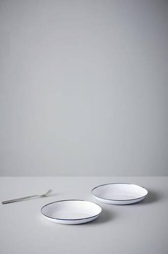 Jotex MADISON leipälautaset, 2/pakk. Ø 20 cm  - Valkoinen/sininen