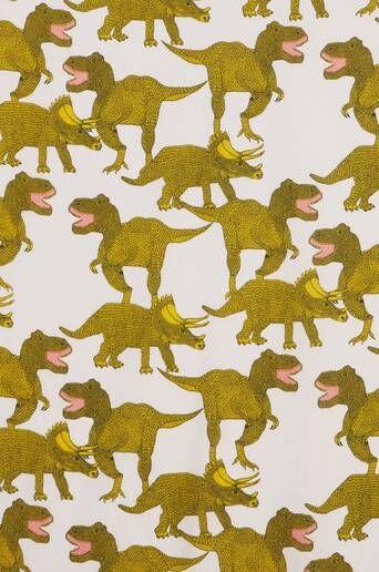 Jotex DINO kangas, 3 metrin valmispala - ekologinen  - Roosa/keltainen