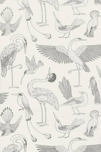 Ferm Living Tapetti Katie Scott Birds  - Offwhite