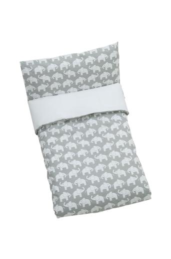 Rätt Start Elefant -pussilakanasetti sänkyyn, harmaa
