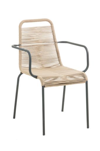 Kave Home BINGHAM käsinojalliset tuolit, 4/pakk.  - Luonnonvärinen